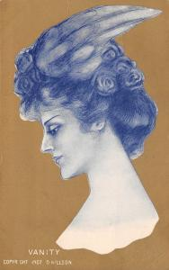 D Hillson~Vanity Lovely Lady Head Study~Profile~Feather Hat~Gold Back~1907 PC