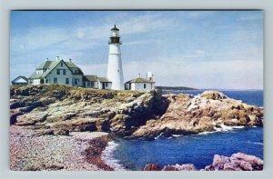 Portland ME-Maine, Portland Head Lighthouse, Chrome Postcard