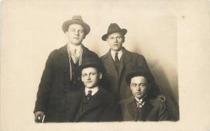 Detroit MI 4 Men~San Remo Studio in Miles Theatre Bldg Real Photo Postcard c1916