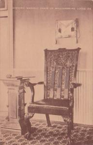 Historic Masonic Chair Of Williamsburg Lodge Williamsburg Virginia