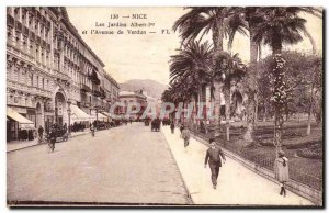 Nice Old Postcard The Albert 1st Gardens and & # 39avenue Verdun