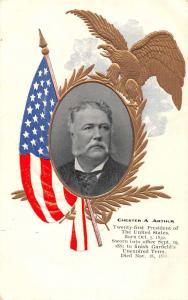 President Chester A Arthur Patriotic Eagle and Flag Antique Postcard J56527