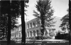 Hillsdale Michigan~Carl L Bailey School Building~Note on Back~1953 RPPC-Postcard