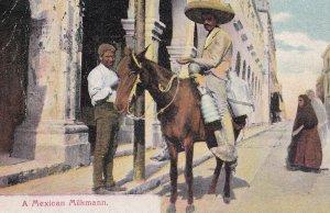 A Mexican Milkmann Mounted Milkman Old Mexico Postcard