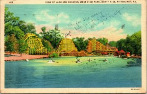 Vtg Linen Postcard Pittsburgh West View Park view of Lake and Coaster North Side