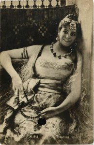 PC CPA ARABIAN TYPES AND SCENES, BELLY DANCER, Vintage Postcard (b17441)