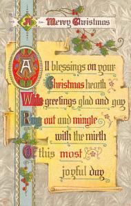 Christmas Post Card Old Vintage Antique Xmas Postcard 1911