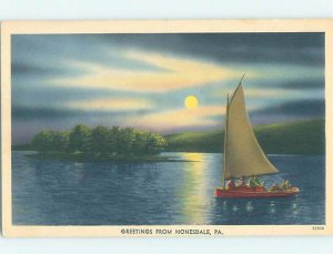 Linen SAILBOAT ON WATER Honesdale - Near Carbondale & Scranton PA AD6735