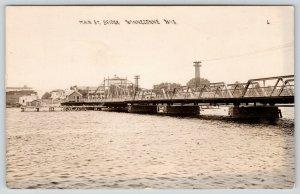 Winneconne Wisconsin~Main Street Bascule Draw Bridge~Shore~Gone Now~1920s RPPC