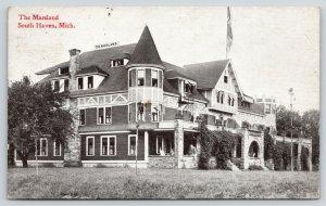 South Haven Michigan~The Marsland Resort Hotel~Side Corner View~c1910 B&W PC