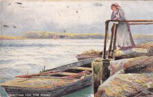 TUCK # 9096; Woman standing on Rocks leaning on railing Waiting For The Ferry
