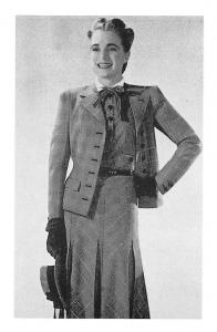Digby Morton Suit, two-piece blue glen outfit 1945 Nostalgia Reprint