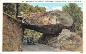 Arch Rock, The General's Highway, Sequoia Nat'l Park, CA c1920s Vintage Postcard