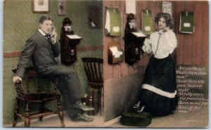 Vintage Greetings / Romance Postcard Young Man & Woman on Telephone c1910s
