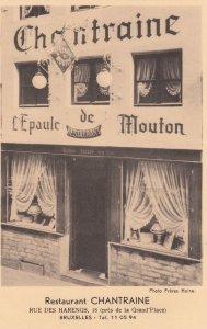 BRUXELLES , Belgium , 1930s ; Restaurant CHANTRAINE
