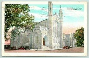 Tulsa Oklahoma~First ME Church~Methodist Episcopal~Twin Spires~1933 Postcard