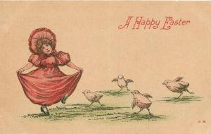 Easter~Victorian Girl in Pink Red Gown & Bonnet~Dances With Chicks~1908 Postcard