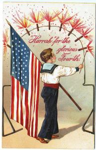 PFB 4th of July Boy Lighting Firecrackers with Sparklers 45 Star Flag Postcard