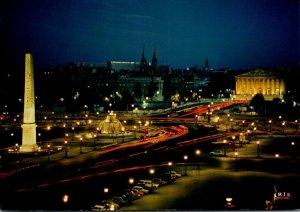 France Paris La Place de la Concorde et l'Assemblee Nationale At Night
