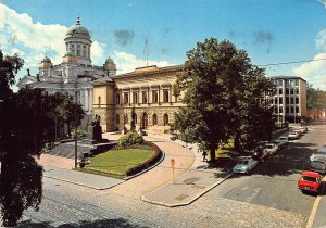 Helsinki Helsingfors Bank of Finland and the Dome Cars Postcard