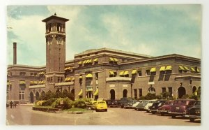 Missouri Pacific Railroad Station Little Rock AR Postcard 1950s Cars Clock Tower