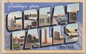 Greeting from Great Falls Montana Large Letter - 1946