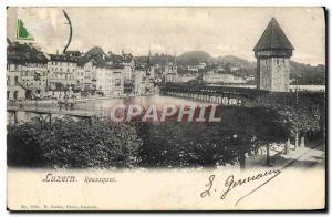 Old Postcard Luzern Reussquai