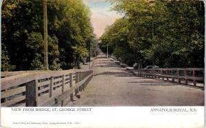 ANNAPOLIS ROYAL, NS Canada  STREET SCENE View from BRIDGE  c1910s    Postcard