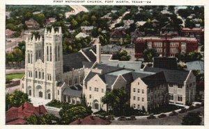 Fort Worth, TX, First Methodist Church, 1949 Linen Vintage Postcard g9057