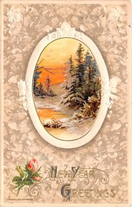 New Years Post Card New Year Greetings Winter Scene Postal Used Date Unknown
