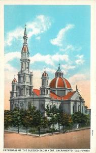 San Francisco CA Gothic Tower & Dome of Blessed Sacrament Cathedral 1920s