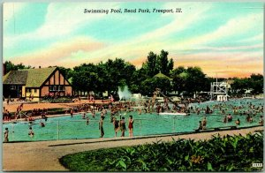 1940s Freeport, Illinois Postcard Swimming Pool Read Park Bathing Scene Linen