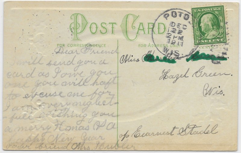 US A Happy New Year.  Embossed. Stamped and dated 1911.. Nice.