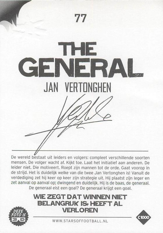 Stars of football trade card printed signature Jan Vertonghen