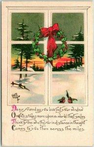 1918 Artist-Signed KATHRYN ELLIOTT Christmas Postcard Holly Wreath / Window