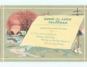 Pre-Linen new year GOOD LUCK TELEGRAM ON POSTCARD k5024