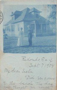 G80/ Redondo California Postcard RPPC 1908 Home Residence Blue Tint