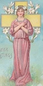 C.1908 Lovely Woman Angel Cross Lilly Easter Artist Signed P. Sanders Pink Dress