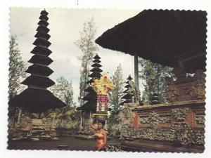 Indonesia Bali Temple Balinese Girl w Offering on Head Vtg Postcard 4X6