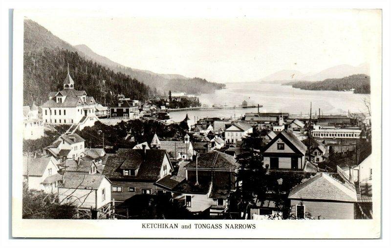 RPPC Ketchikan, Alaska and Tongass Narrows Real Photo Postcard *6O3