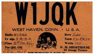 Connecticut   West Haven , QSL , W1JQK postmarked 1937