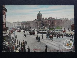 Manchester Animated Street Scene PICCADILLY & ROYAL INFIRMARY c1909 Postcard