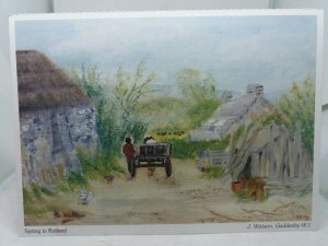 Vintage Postcard Spring in Rutland Painting by J Watson Gaddesby WI