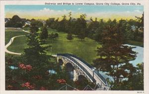 Pennsylvania Grove City Stairway and Bridge To Lower Campus Grove Cty College...