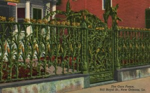 New Orleans, LA, Corn Fence, 915 Royal Street, 1941 Vintage Postcard g8268