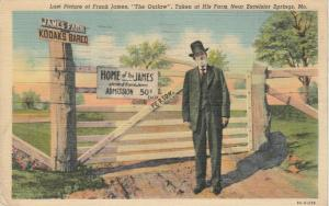 EXCELSIOR SPRINGS, Missouri, PU-1940; Frank James, The Outlaw at his Farm