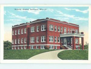 Unused W-Border HOSPITAL SCENE Burlington Wisconsin WI J9630