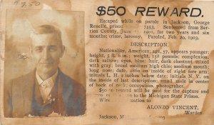 F52/ Jackson Michigan RPPC Postcard? Renelle Prison Escape Reward Berrien