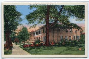Woman's Club Raleigh North Carolina linen postcard