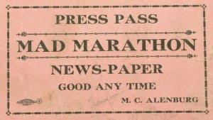1930 World's Mad Marathon Martin's Dance Pavillion Ticket Press Pass P1